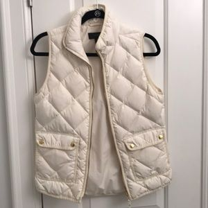 Jcrew Ivory Quilted Vest